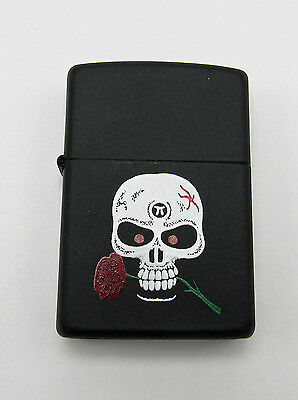 Zippo Skull w/ Rose Matte Black Lighter 1990s Sealed Unused