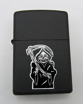 Zippo Grim Reaper Gothic Matte Black Lighter 1990s Sealed Unused
