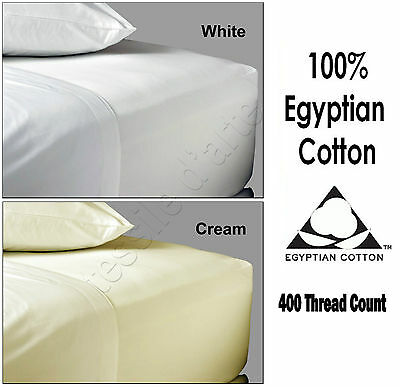 Luxurious 100% Egyptian Cotton 400 TC Fitted Sheets Flat Sheets or Pillow Cases