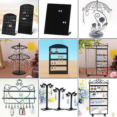 New Earring Ear Stud Jewelry Display Holder Black Organizer Stand Shower 12 Type