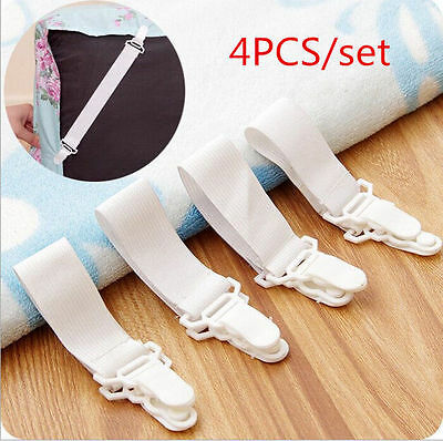 2015 4 x Bed Sheet Mattress Cover Blankets Grippers Clip Holder Fasteners