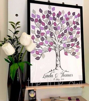 Fingerprint Tree Alternative- Wedding Guest Book with Paper Punchie Leaves