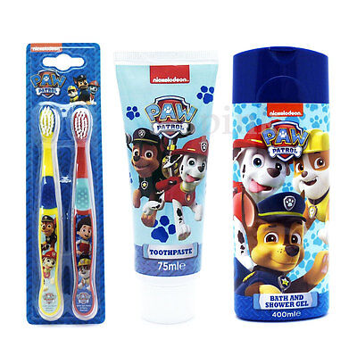 Kids Children Toothbrush Twin Pack, Toothpaste & Bath Shower Paw Patrol Gift Set