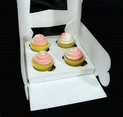 10 Cupcake Box holds 4 each WINDOW 8 x 8 x 4 Bakery Box and Inserts for 40