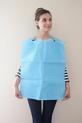 100 Pack Of Blue Premium Disposable Adult Geriatirc Bibs Free Shipping