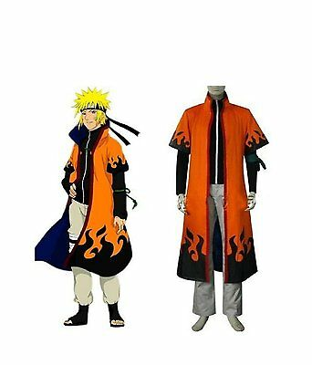 Naruto 6th Leaf Village Hokage Naruto Uzumaki Cosplay Costume Robe Cloaks NEW