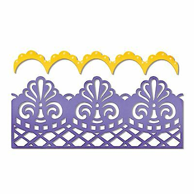 SIZZIX Thinlits cutting dies DAMASK & SCALLOP BORDER 2 dies CUTTLEBUG COMPATIBLE