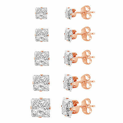 Rose Gold Plated Silver Square Cut Clear CZ Stud Earring Set (5 Pairs) 3 - 7mm
