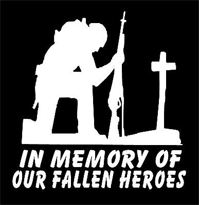 Soldier Kneeling at Cross Decal In Memory of Our Fallen Heroes military sticker