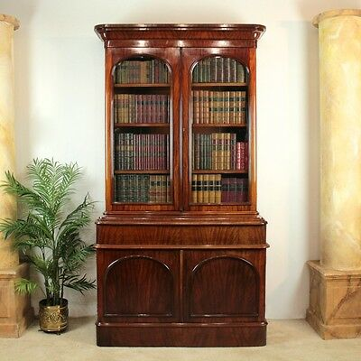 Antique Victorian Mahogany Two Door Bookcase Cabinet *UK Delivery £120