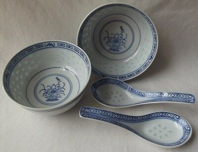 "2 Asian Chinese Porcelain Blue & White Soup/rice Bowls & Spoons 4-1/2"" D."