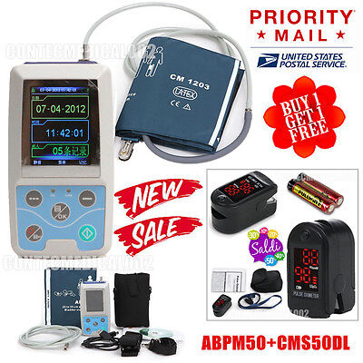 Ambulatory Blood Pressure Monitor 24Hours Recorder Free Figer Tip Pulse Oximeter