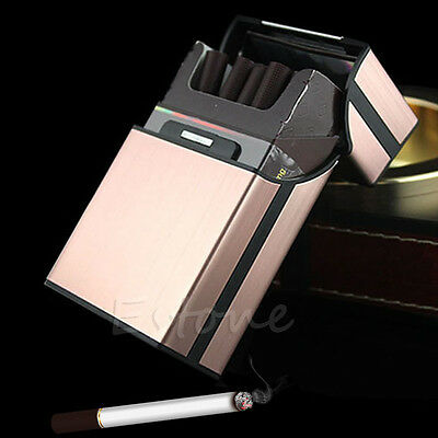 New Aluminum Metal Cigar Cigarette Tobacco Box Holder Pocket Storage Case Pink