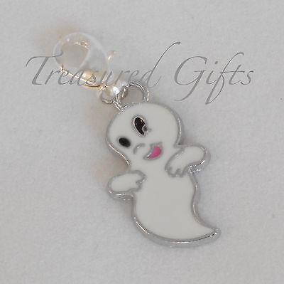 White Ghost Clip on Charm - Silver Plated