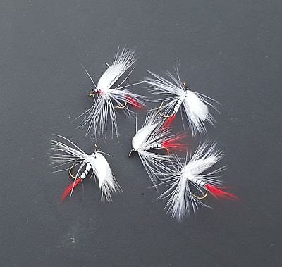 Dry Trout Fly White Wing Red Tail May Fly size #10 5pcs fishing lures