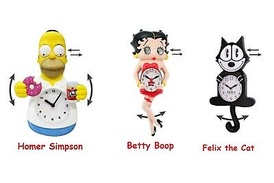 Licensed Novelty Motion Wall Clock Homer Simpson Betty Boop Gumby