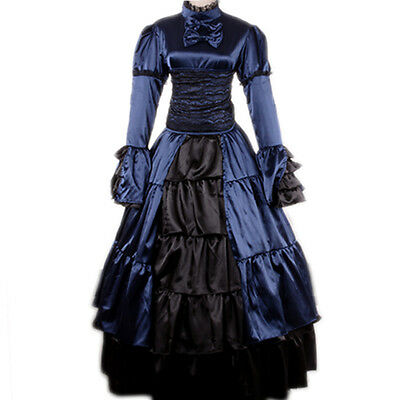 Victorian Period Dress Gothic Theater Reenactment Steampunk Ball Prom Costume