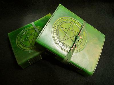 PENTACLE Pagan Wicca Book-of-Shadows Journal Diary - Handmade in Green Leather