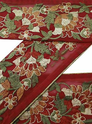 Vintage Sari Border Antique 1Yd Embroidered Indian Trim Used Red Ribbon Lace