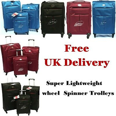 Super Lightweight 4 Wheel Spinner Trolley Suit Cases Hand Luggage Cabin Bag Case