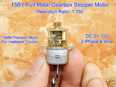 DC 5V 12V 2-Phase 4-Wire 15MM Mini Gear Stepper Motor Full Metal Gearbox Robot