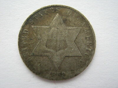 United States 1859 silver 3 Cent F