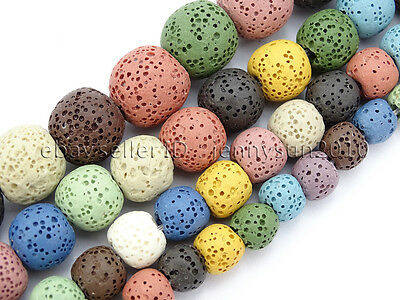 Colorful Volcanic Lava Gemstones Round Spacer Beads 15.5'' 8mm 10mm 12mm 14mm