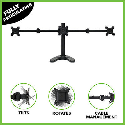 Triple LCD Monitor Desk Stand/Mount Free Standing Adjustable 3 Screens upto 24""