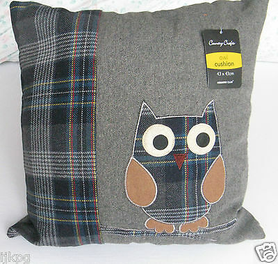 Delightful Tweedy Owl Filled Cushion  Now Reduced!!