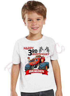 Blaze and the Monster Machines Birthday Shirt Custom Name and Age Personalized