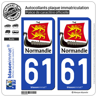 2 Stickers autocollants plaque d'immatriculation auto | 61 Normandie - Drakkar