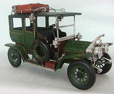 Tin Plate Model of a Large Green Vintage Transport Motorcar /Ornament /Gift