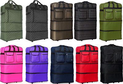 "Pack of 4,30""/36""/40"" Expandable Rolling Duffel Wheeled Spinner Suitcase Luggage"
