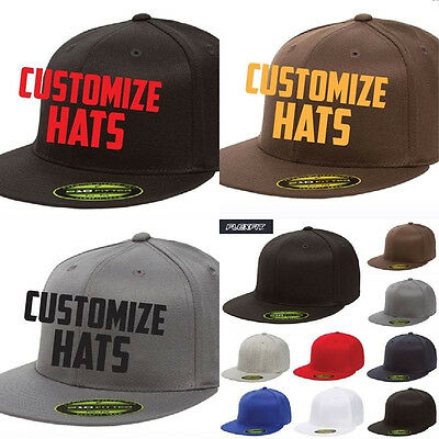 1fe09a534025d CUSTOM EMBROIDERY Personalized Customized Flat Bill Yupoong Flexfit fitted  cap