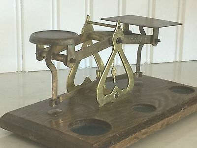 Antique Collectable Brass Balance Weight Scale Made In England Very Collectable
