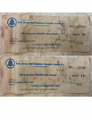 Set Of 2 Vintage New Jersey Bell Phone Company Refund Checks Uncashed Circa 1970