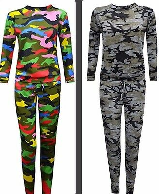 Girls Tracksuit Camouflage ArmyPrint Kids Sweat Lounge suit Tracksuit 5-13 Years