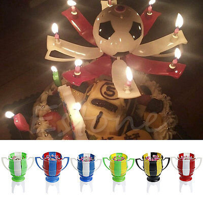 Amazing Musical Football Cup Creative Happy Birthday Music Candle Gift