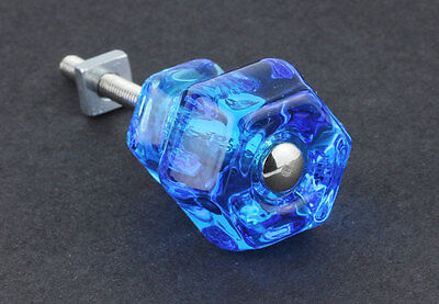 "Peacock Blue Vintage Style Glass Knob ~ Drawer Pull Handle { 1 1/4"" Dia.} by PLD"
