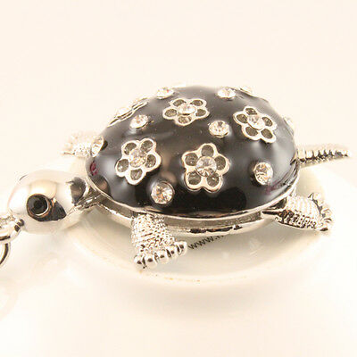 Red Flower Turtle Keychain Rhinestone Crystal Charm Animal Insects Gift 01237