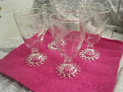 Vintage Anchor Hocking Bubble/boopie Juice/wine Goblets Etched- Beautiful- (4)