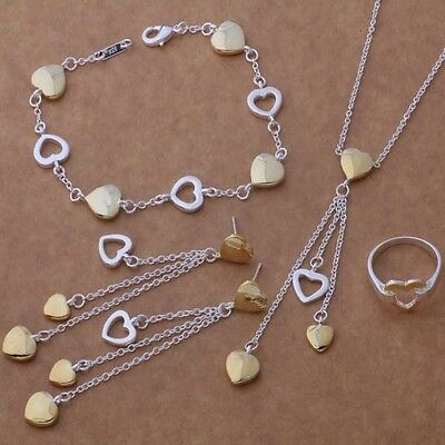 New Hot Sterling Silver and Gold Plate 5-Piece Dangle Hearts Set FAST FREE SHIP
