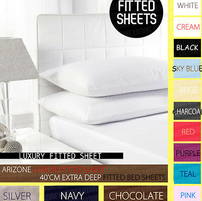 """Extra Deep Size 16""""/40 Cm Fitted Percale Single,double, King, Super King Sheets"""