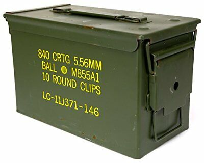 Military Previously Issued U.S. G.I. M2A1 Metal 50 Caliber Ammo Box