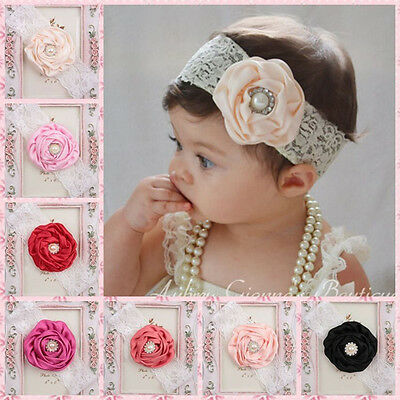 Cute Lovely Flower Hair Band Lace Pearl Headband Headwear For Kids Baby Girl
