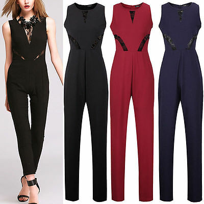 Tuta Donna Pizzo Elegant Jumpsuit aderente party Overall Abito Rompers Cocktail