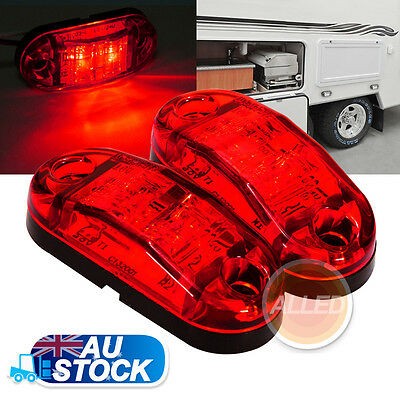 2X12VDC SurfaceMount Red LED Side Marker Clearance Light Indicator Trailer Truck