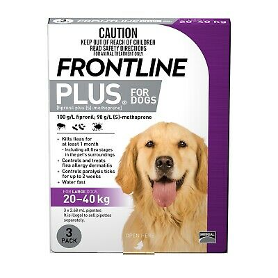 Frontline Plus Flea & Tick Protection for Dogs 20-40kg - 3 Pack