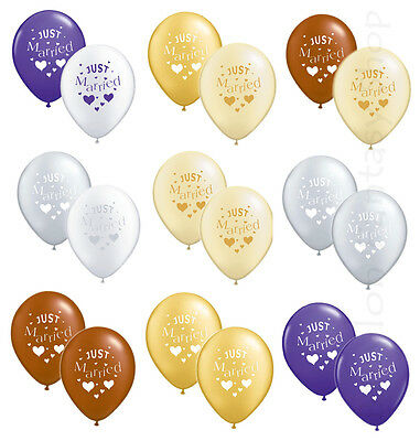 50 x Just Married Wedding Balloons - Helium Quality - Party, Many Colours, Bulk