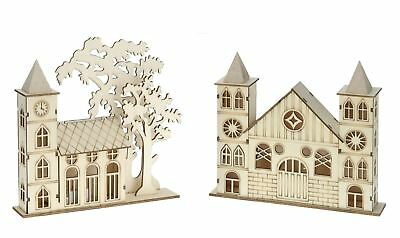 2Pc LED Laser Cut Wooden Church Architecture Lighting 16cm Xmas Window Lights